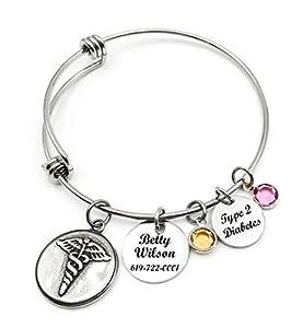 Medical Alert ID Bangle Bracelet, Caduceus, Adjustable Bangle bracelet, Personalized, Customized