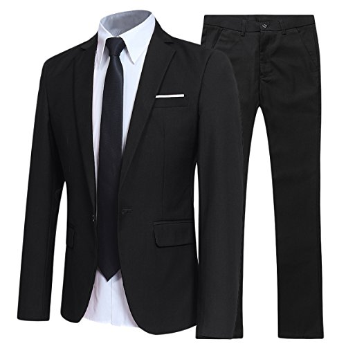 YFFUSHI Slim Fit 2 Piece Suit for Men One Button Casual/Formal/Wedding Tuxedo,Black,X-Small