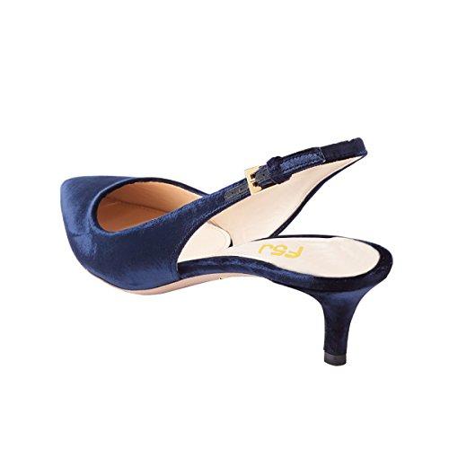 FSJ Women Classy Slingback Pumps Velvet Kitten Mid Heels Pointy Toe Comfort Dress Shoes Size 4-15 US Navy Blue cheap sale purchase vzTvTZbgVI
