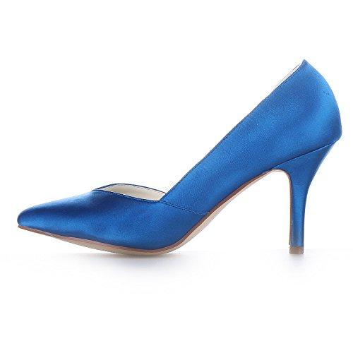 JIA JIA 8390B19 Women's Bridal Shoes Closed Toe Heels Satin Pumps Wedding Shoes Blue bbRE2v1CVP
