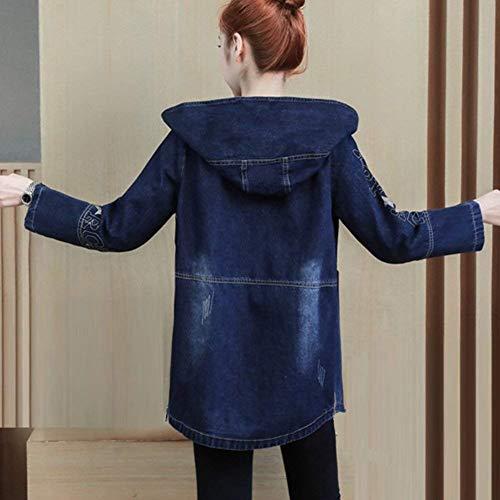 Elegante Lunga Moda Anteriori Alta Cappuccio Outdoor Cerniera Blau Di Donna Jacket Giubbino Tasche Giacche Manica Giacca Jeans Invernali Qualità Cute Casual Chic Con qIWwtwF7H