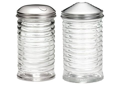 ((Set of 2) Beehive Sugar Pourer and Powdered Creamer Dispenser Set, Glass with Stainless Steel Lids 12 ounce)