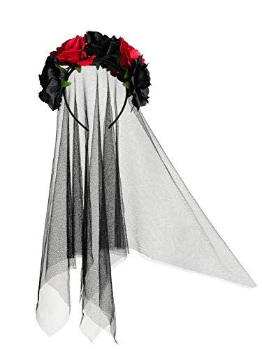 Zivyes Day of The Dead Headband Bride Veil Fancy Dress Costume Halloween Accessories Rose Flower Crown ()