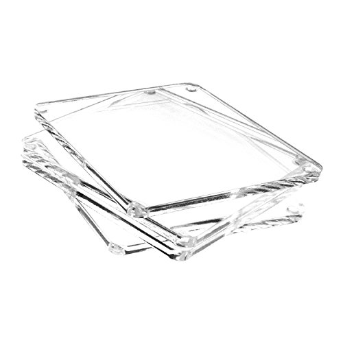 Party Coasters Personalized (Source One LLC Deluxe Personalized Clear Acrylic Coasters & Holder, Home & Business Use, Wedding and Party Favors (Plain, 4))