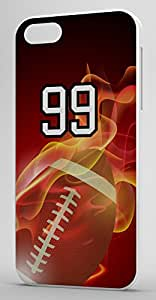 Flaming Football Sports Fan Player Number 99 White Plastic Decorative iPhone 6 PLUS Case