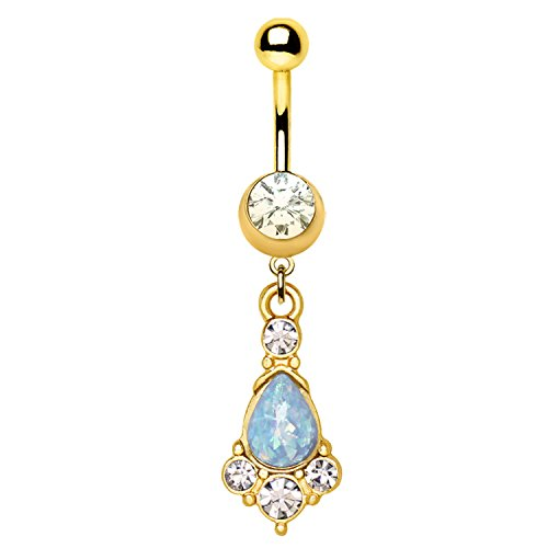 Gold Plated Light Blue Animal Lover Dog Paw Synthetic Opal Dangle Navel Belly Ring 316L Stainless Steel Size 14GA 3/8