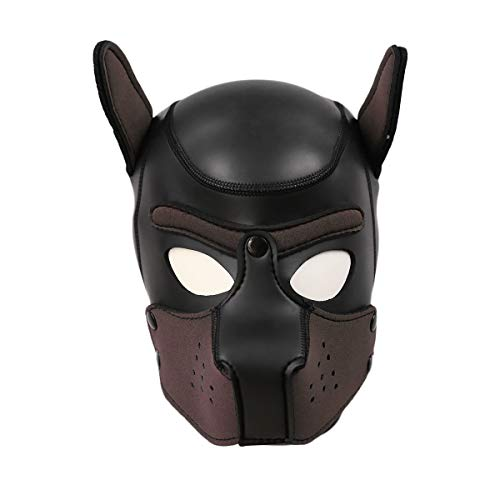 Dog Puppy Hood Full Face Mask Helmet Removable Mouth Black Blindfold Breathable Halloween Cosplay Costume Party Props(Black+Coffee) -