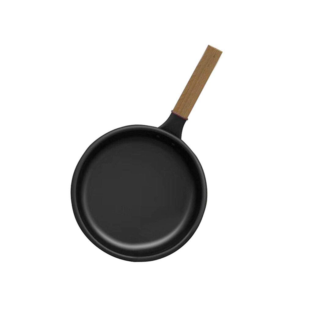 Round Pan Aluminum Non-stick Steak Wooden Handle Frying Pan With Glass Cover And QYLOZ