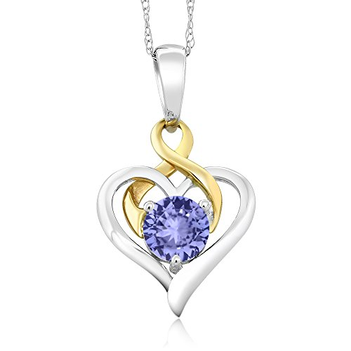 10K Two-Tone Gold 0.46 Ct Round Blue Tanzanite Heart Pendant With Chain (0.46 Ct Heart)