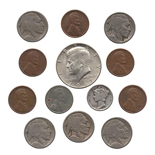 ins. 5 Dateless Buffalo Nickels, 1 Silver Mercury Dime, 1 Steel 1943 Penny, 5 Wheat Pennies, and a 40% Silver Half Dollar. ()