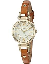 Fossil Womens ES4000 Georgia Mini Dark Brown Leather Watch