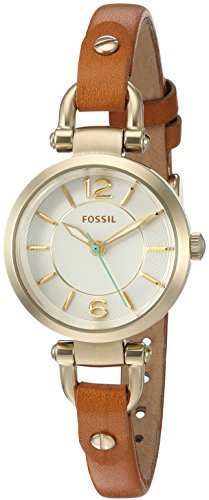 Fossil Women's ES4000 Georgia Mini Dark Brown Leather Watch by Fossil