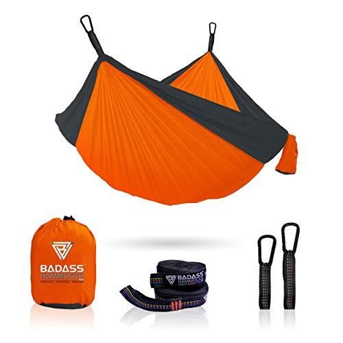 Badass Hammocks Single and Double Hammocks Lightweight Nylon Portable Hammock, Best Parachute Hammock for Backpacking, Camping, Travel, Beach, Yard.
