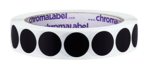 ChromaLabel 3/4 inch Removable Color-Code Dot Labels | 1,000/Roll (Black)
