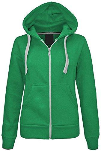 Ladies Plain Zip Up sudadera con capucha forro polar con capucha dos bolsillo Abrigo Superior Chaqueta Verde
