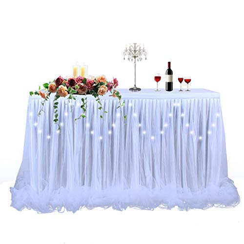 LED Table Skirt 9ft White Tulle Table Skirt Tutu Table Cloth Skirting for Rectangle or Round Table for Baby Shower Wedding and Birthday Party Winter Decoration (L9(ft) H30in)