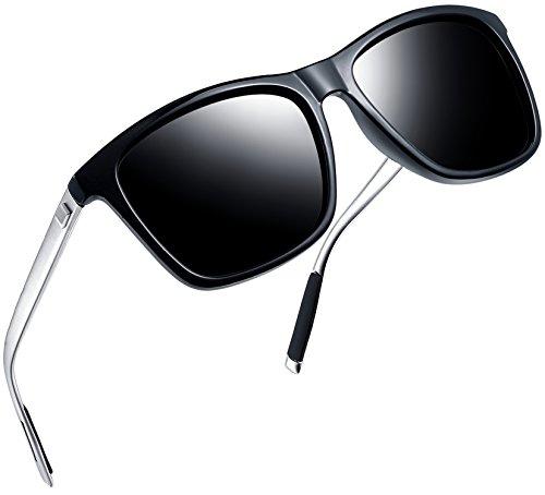 Joopin Unisex Polarized Sunglasses Classic Men Retro UV400 Brand Designer Sun glasses (Black - Silver Square Card