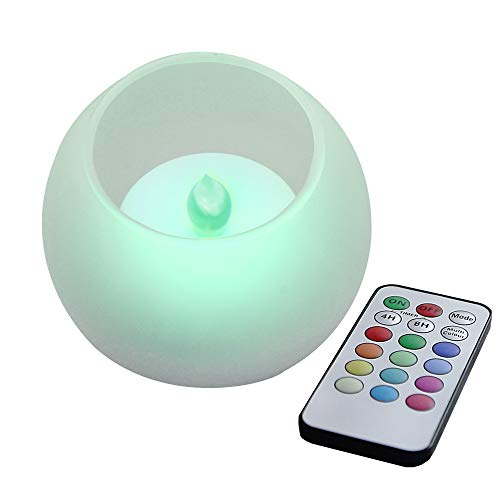 (Flameless LED Color Changing Candle with Frosted Glass Candle Holder Flickering Electric Battery Powered Operated Candle with Remote and Timer for Home Décor Party Holiday Wedding Decorations)