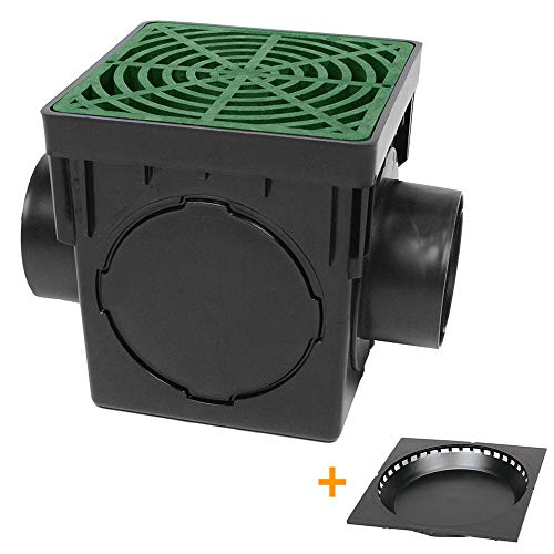 "Storm Drain FSD-120-K 12"" Square Catch Basin with Green Grate Drain Box Kit"