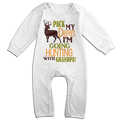 QQUBGFTIN Pack My Diapers I'm Going Hunting With Grandpa Baby Boys Girls Long Sleeve Playsuit Cute