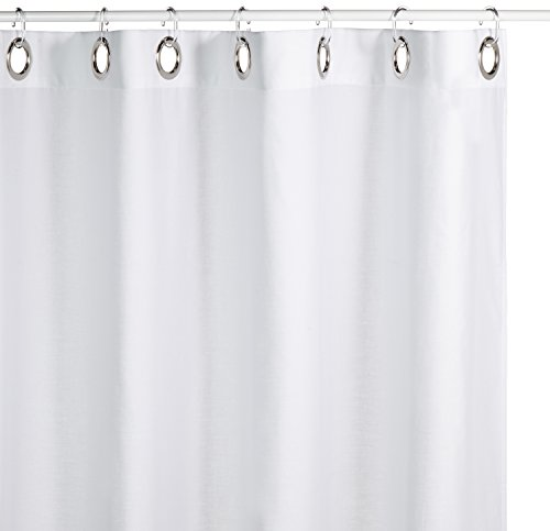 Extra Long Hookless Shower Curtain 72 X 78 Inch Sealskin Coloris Off White Cotton Free