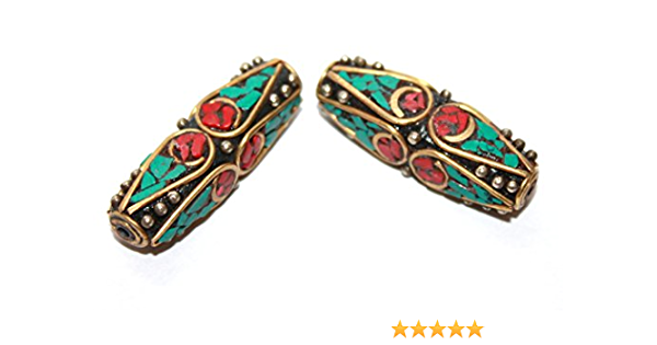 10mm Coral Turquoise Brass Nepal Beads Indonesian Pendant Bead DIY Jewelry Making Bead Textured Boho Ethnic Beads Barrel Findings Gypsy