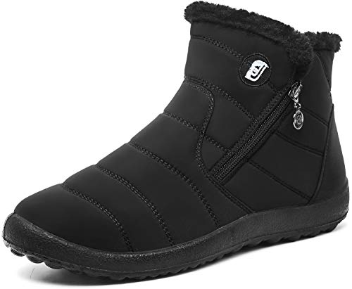 JOINFREE Womens Cozy Waterproof Boots Winter Footwear with Oxford Cloth Mid Black 8.5 M US ()