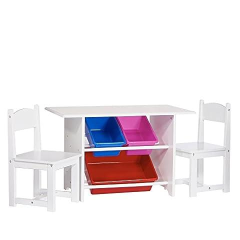 RiverRidge Kids Table with 2 Chairs and 3 Plastic Storage Bins