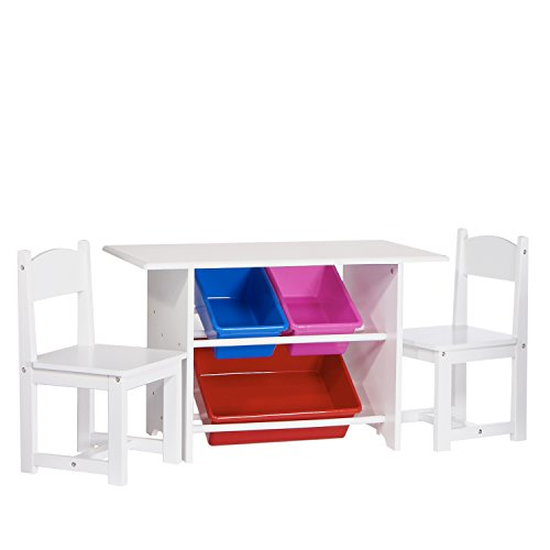 RiverRidge Kids Table with 2 Chairs and 3 Plastic Storage Bins