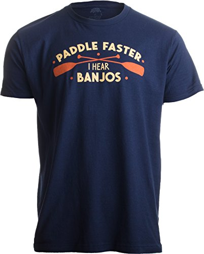 Ann Arbor T-shirt Co. Paddle Faster, I Hear Banjos | Funny Camping, River Rafting Canoe Kayak T-Shirt-(Adult,2XL) Funny Printed T-shirts