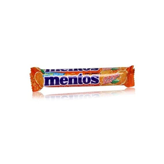 Mentos Chewy Dragees Orange Flavour with Real Fruit Content 18PC