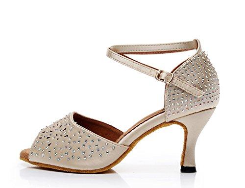 Ballroom Shoes 5 Wedding Peep Sandals Ladies Studded Nude MINITOO Toe 6 UK Dancing Latin Satin x0URnSzpwq