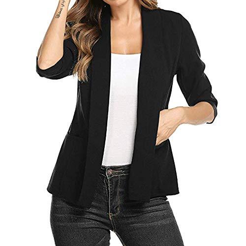 ITISME Manteaux Femmes Automne Printemps Mini Suit Casual Manches 3/4 Ouvert Front Work Blazer Jacket Cardigan Manteau Mode S-2XL Noir