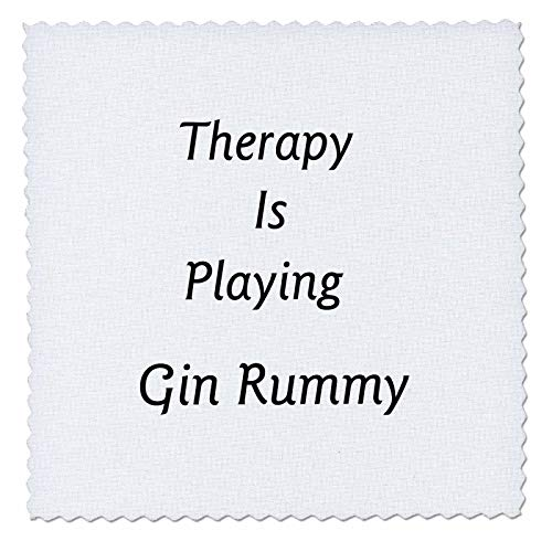 3dRose lens Art by Florene - Therapy Is - Image of Therapy Is Playing Gin Rummy In Bold Typography - 6x6 inch quilt square ()