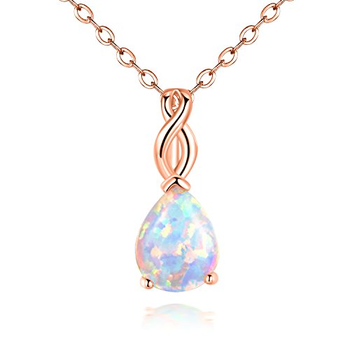 OPALTOP Pear White Fire Opal Pendant Necklace Teardrop 8x10mm 18K Rose Gold Plated 17.5 Inch for Women Teen Girls