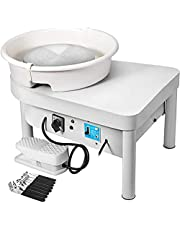 Mophorn Pottery Wheel 25cm Pottery Forming Machine 350W Electric Pottery Wheel with Button/Adjustable Handle/Feet Lever Pedal/ABS Basin DIY Clay Tool with Tray for Ceramic Work Clay Art DIY Clay