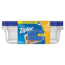 Ziploc Brand Containers, Large Rectangle (2x3), 2 Count