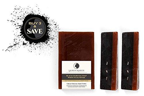 Cheap Anti Aging Soap, Handmade in the USA, 100% Organic, Black Charcoal W/ White Tea Thyme, All Skin Types, Face & Body, Men, Women & Teens by Lauren Marier (Black Charcoal White Tea Thyme Soap, 3 Count)