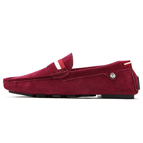 Sunrolan Menns Multi-farge Årsaks Slip-on Driving Loafers Moccasin Sko Xr5132 8317-vinrød