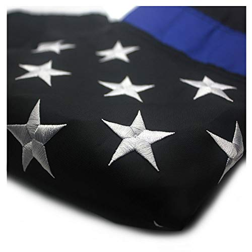 (VSVO Thin Blue Line American Police Flag 3x5 ft - Embroidered Stars and Sewn Stripes with Grommets Black White and Blue USA Flags)