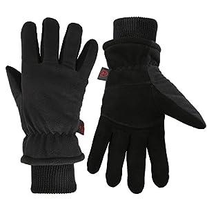 Men Winter -20°F Cold Proof Thermal Gloves, Deerskin Suede Leather Palm & Fleece