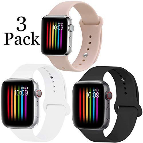 Lesampo Compatible with Apple Watch Band 38mm 40mm 42mm 44mm,Soft Breathable Silicone Sport Band Replacement Wrist Strap Compatible for iWatch Series 4/3/2/1,Nike+,Sport,Edition,S/M M/L Size - The Fashion Band