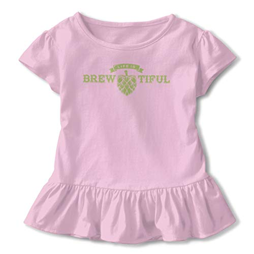 (Hanfjj Kefdk Life is Brewtiful Beer 4 Ruffled Tshirts Short Sleeve Girls' Birthday Gift 2-6T Pink)