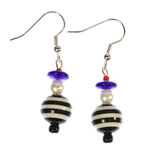 ARThouse Little French Sailor Striped Blue, Black, and Red Earrings, Dangle 1.75 (France Modern Costume)