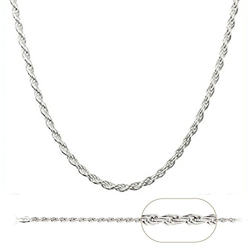 925 Sterling Silver Italian 2.3MM Diamond Cut Rope Chain Sturdy Necklace With Extra1
