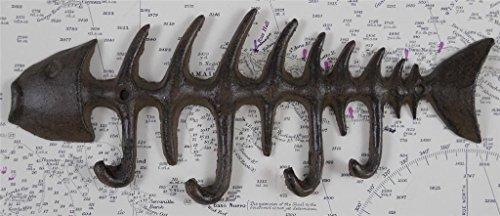 Fish Wall Hook - 1 X Iron Fish Skeleton Key Rack