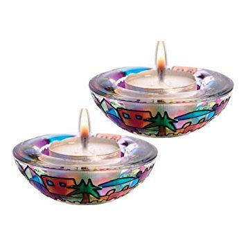 Stained Glass Tea Light Candle Holders - Jerusalem 'N Red
