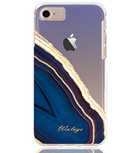 (iPhone 7 Case, Walago Hybrid Shockproof Clear Cover with Glitter Agate Crystal Design Armor Hard PC Back Flexible TPU Frame Transparent Bumper for iPhone 7/8 (Gold Glitter/Blue))