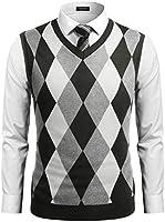 COOFANDY Men's Casual Slim Fit V-Neck Rhombus Knitwear Sleeveless Pullover Sweater Vest