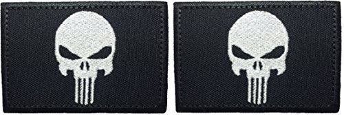 Corps Marine Fleece Fabric - Set 2 of Tactical Morale Operator Punisher Skull Sew on Iron on Embroidered Applique Patch 2